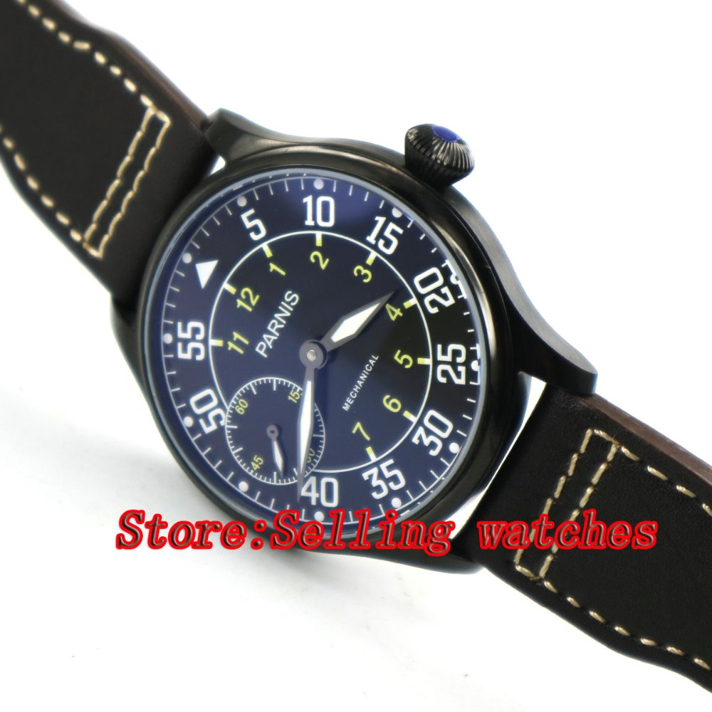 44mm parnis black dial PVD case luminous 6497 hand winding mens watch цена и фото