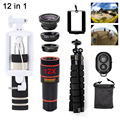 Phone Lenses 12in1 Kit Telescope 12X Telephoto Zoom Lentes Wide Angle Macro Fish eye Lens For iPhone 5 6 s 7 Xiaomi Lenovo LG