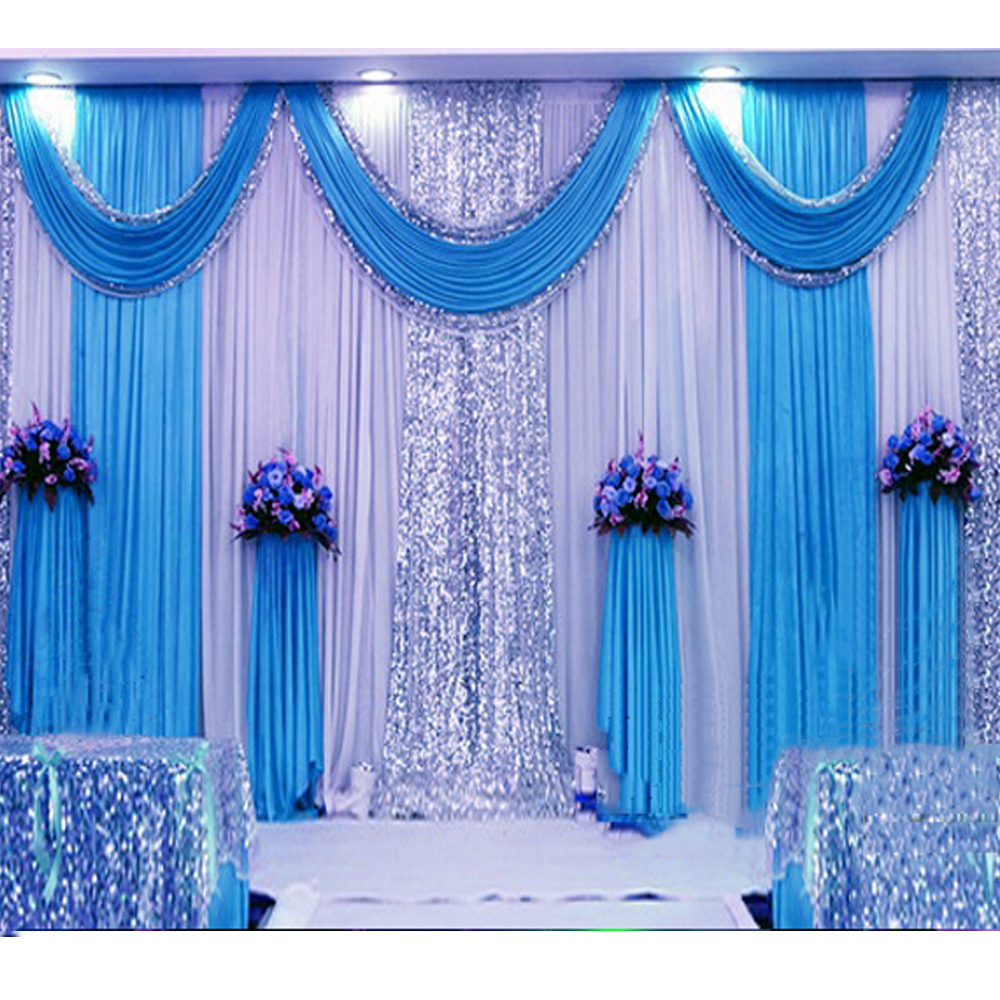 3 6m sequin wedding backdrop curtain with swag backdrop for Backdrops wedding decoration