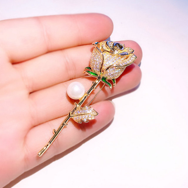 Gold Colored Rose Suit Brooch Pin
