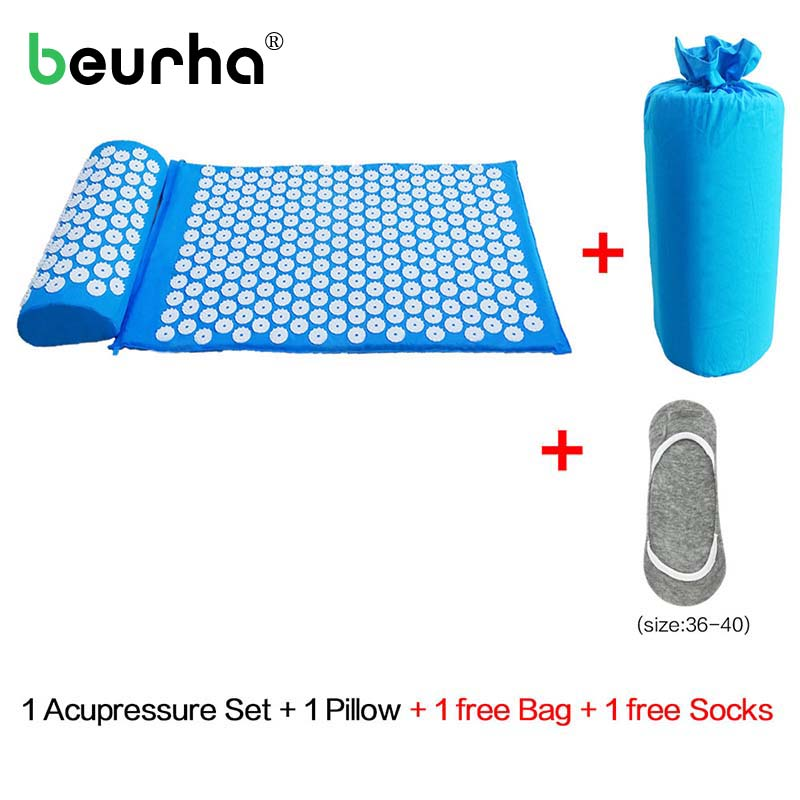 Acupressure Mat Head Neck Back Foot Massager With Pillow Yoga Mat Antistress Acupuncture Needle Massage Health Products Relax acupressure yoga body massage mat