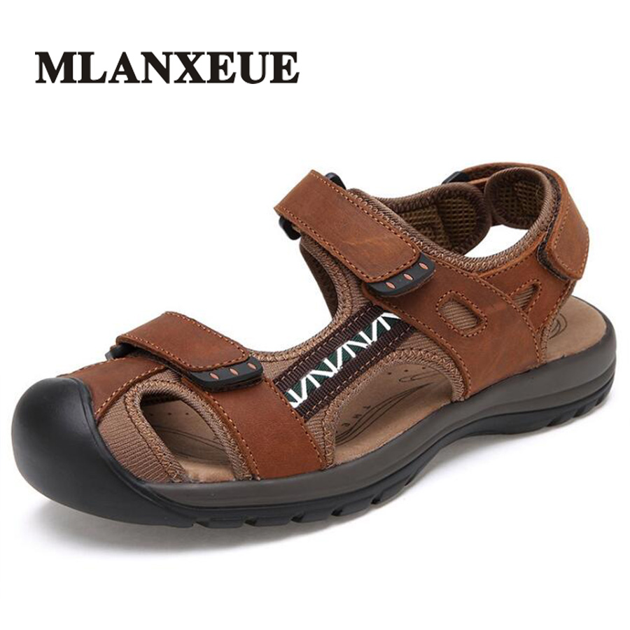 Mlanxeue Sandals Men Shoes Genuine Leather Fashion Summer 2018 Beach Male New Casual Shoes Outdoor Size 36-45 Sandalias Hombre