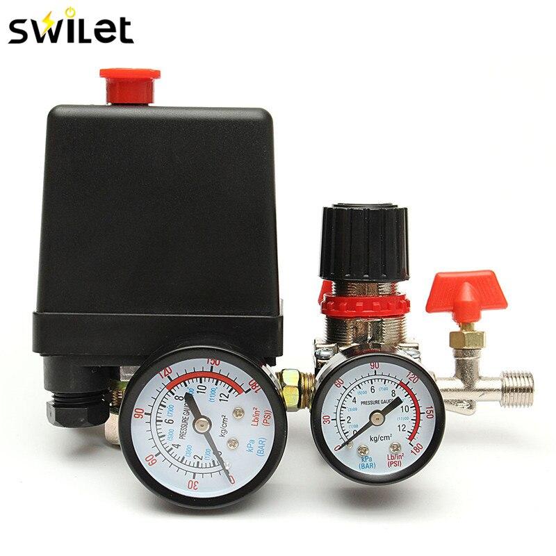 120psi compresor de aire válvula de presión Manifold Relief regulador medidores accesorios de iluminación interruptores