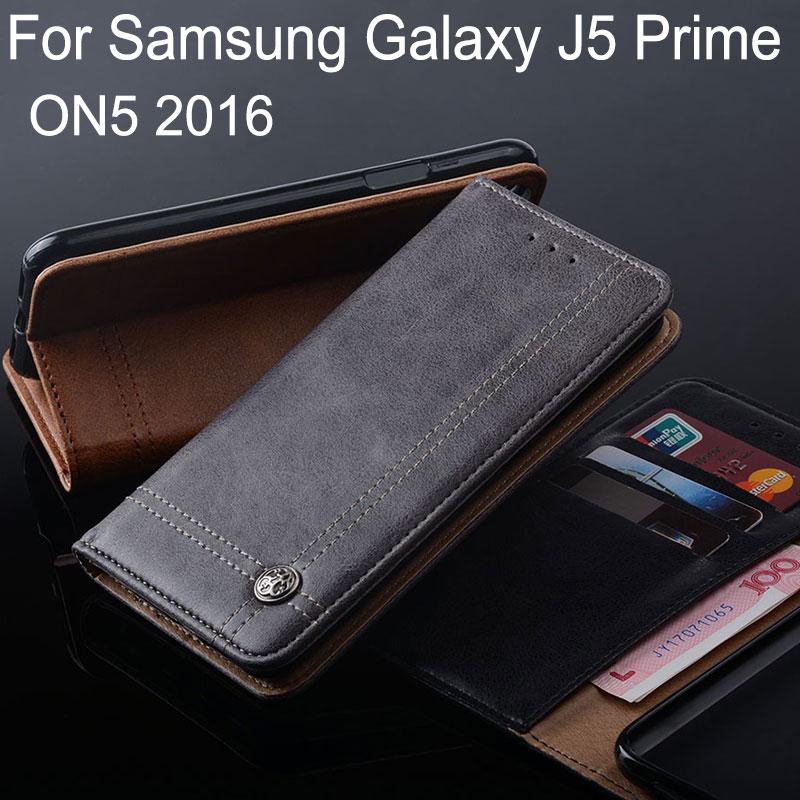 for samsung galaxy j5 prime case Luxury Leather Flip cover Stand Card Slot Without magnets Cases for samsung galaxy on5 2016