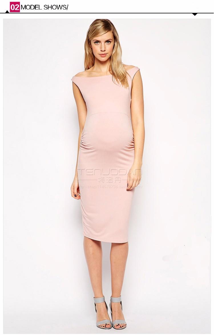 ebed1a84babdf Lovely Pink Elastic Pregnancy Clothes Elegant Maternity Dresses ...