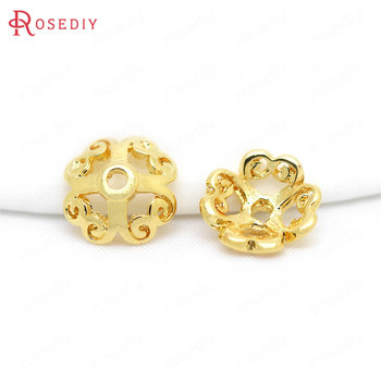 20PCS 6MM 8MM 24K Gold Color Plated Brass Beads Caps Diy Jewelry Findings Earrings Accessories Wholesale 20pcs 4x3mm 24k champagne gold color plated brass beads caps high quality diy jewelry accessories