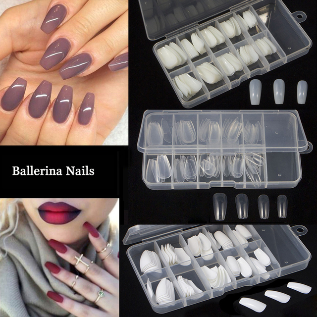 100pcs Box Ballerina Coffin Nail Tips Artificial False Fake Nails Diy Salon