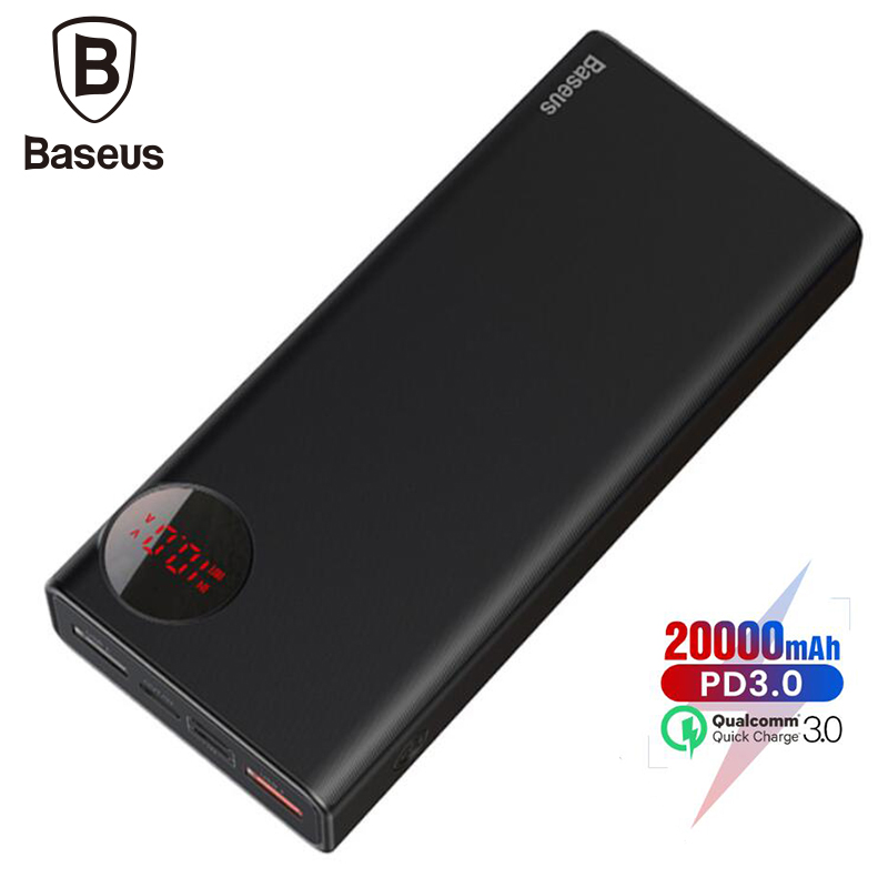Baseus 20000mAh PD3.0 Quick Charger 3.0 External Battery Powerbank For iPhone Xs Max Xr X 8 Plus Mobile Phone Power BankBaseus 20000mAh PD3.0 Quick Charger 3.0 External Battery Powerbank For iPhone Xs Max Xr X 8 Plus Mobile Phone Power Bank