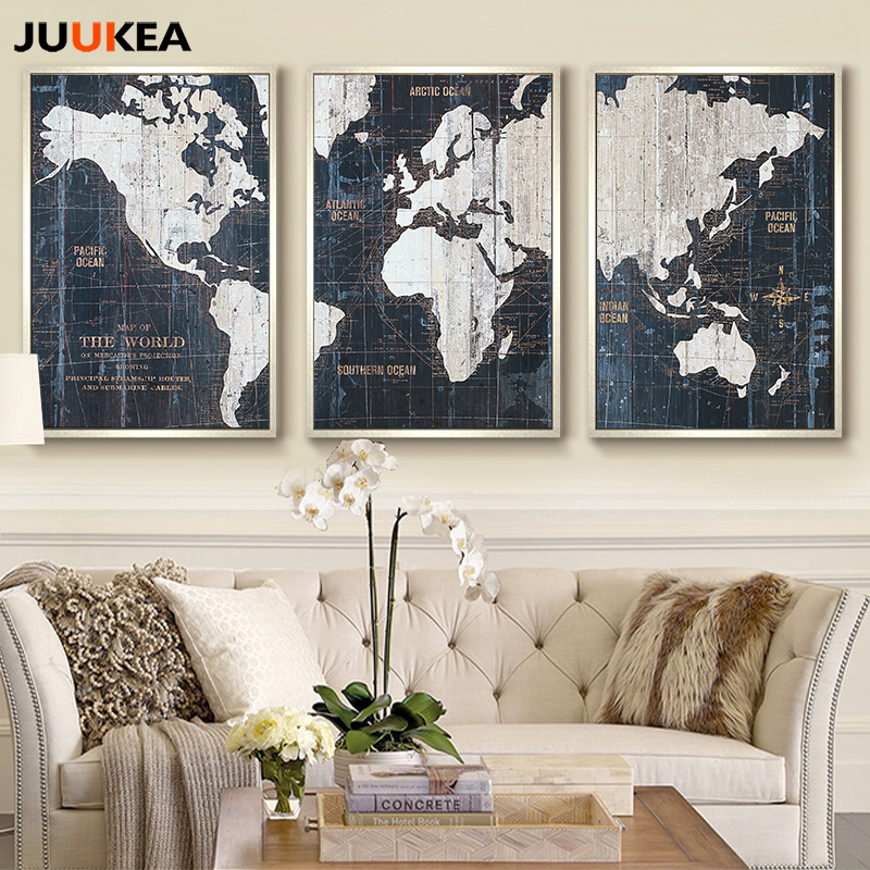 3 panels vintage world map canvas art print painting poster wall 3 panels vintage world map canvas art print painting poster wall pictures for living room bedroom home decor free shipping in painting calligraphy from gumiabroncs Images