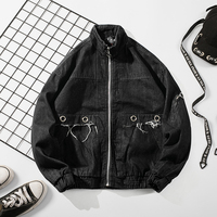 526512e3f3c4 Retro Denim Jacket Men 2018 Autumn New Washed Fashion Black Loose Large  Size Trend Hip Hop