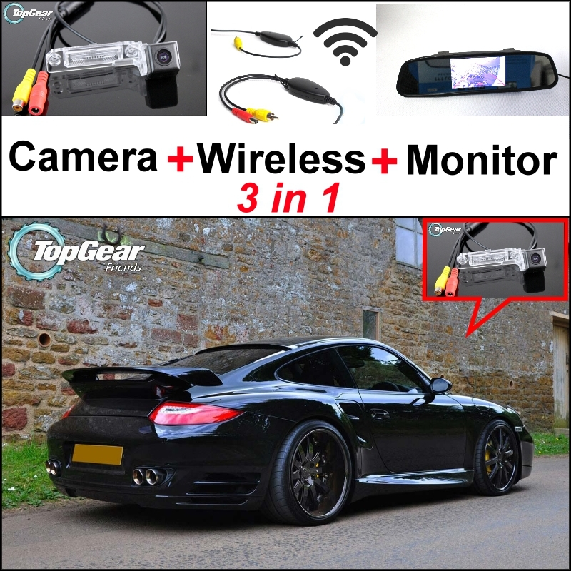 3 in1 Special Rear View Camera + Wireless Receiver + Mirror Monitor DIY Parking System For Porsche 993 996 Carrera 911 1989~2005 cnc engine cover cross derby