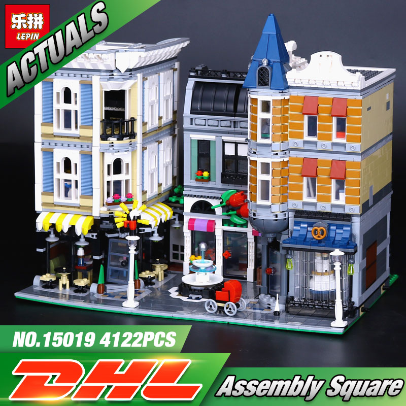 Lepin 15019 4002pcs MOC Creative Series The Assembly Square Set Building Blocks Bricks Toys Small piece block 10255 ynynoo lepin 02043 stucke city series airport terminal modell bausteine set ziegel spielzeug fur kinder geschenk junge spielzeug