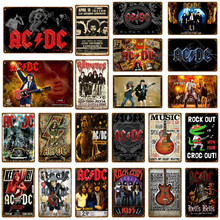 Rock ACDC Band Vintage Metal Signs AC DC Music Club Advertising Plaque Bar Cafe Pub Casino Decor Wall Sticker Painting Poster(China)