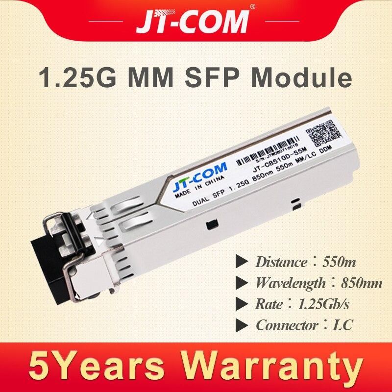 1G 850nm 550m SFP Transceiver Module 2 LC Gigabit Multimode Duplex Fiber Optical Compatible with Cisco/Mikrotik Switch DDM DUAL