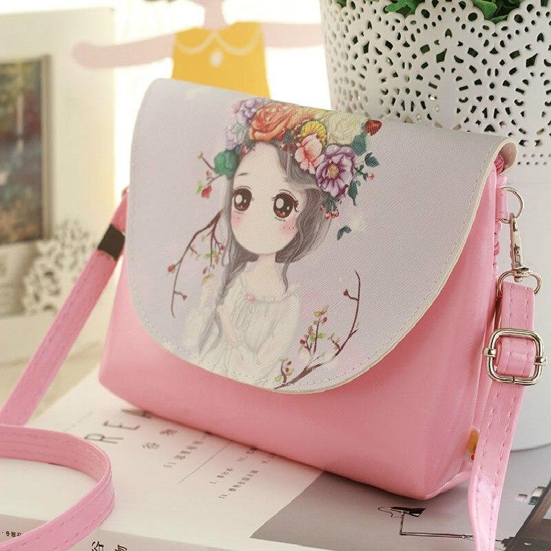 Sale Cartoon Printing Shoulder Bags Bag Children PU Leather Mini Crossbody Bag Girls Messenger Bag