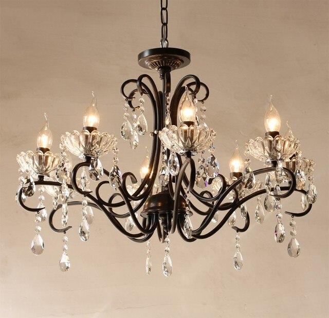 Retro black iron Bar Cafe light led chandelier 6 E14/E12 American style Vintage light Hanging crystal Lampadario Led Chandeliers