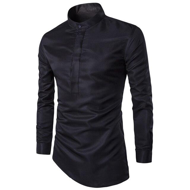 2016 Mens de La Manera Discotecas Camisa de Estilo Dobladillo Oblicua Camisa Chemise Homme Sociales Masculina Men Slim Fit Atractivo Del Club El Uso M-3XL2