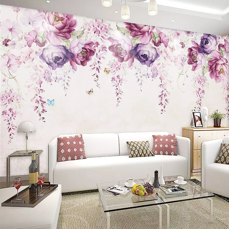 3D Wallpaper Modern Simple Hand-painted Violet Peony Flowers Photo Wall Murals Living Room TV Sofa Backdrop Wall Painting Decor
