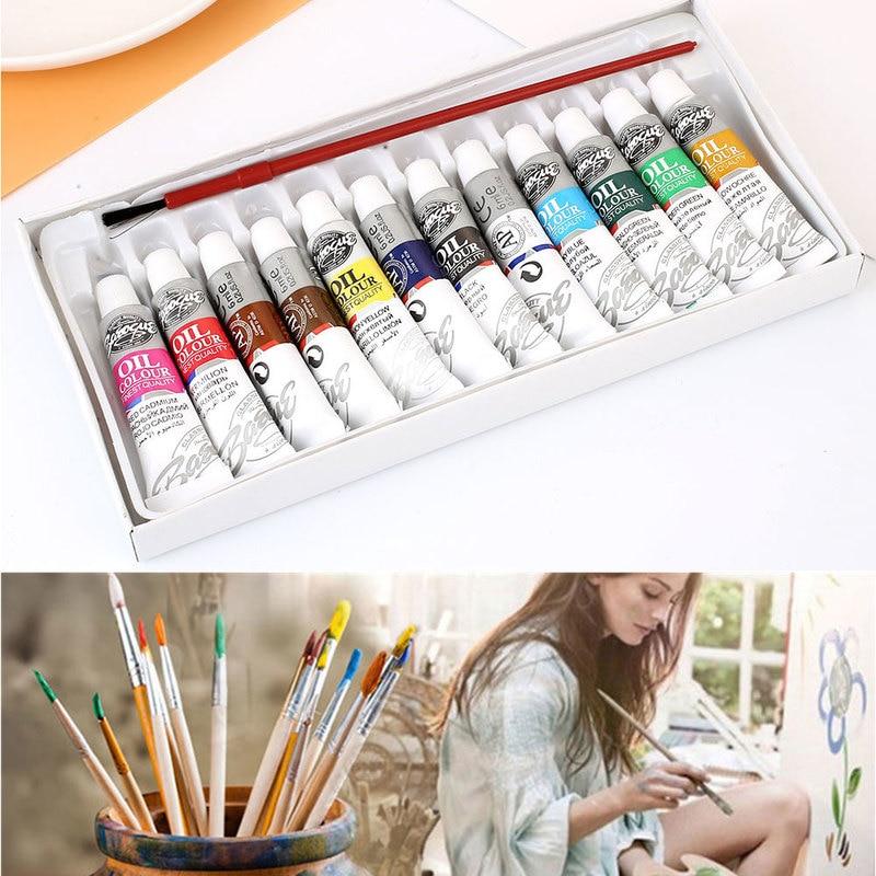 1Pc 6ml 12 Colors Oil Painting Set With 1 Brush Pen Acrylic Pigment Professional Oil Colors Paints Fine Painting Art Supplies