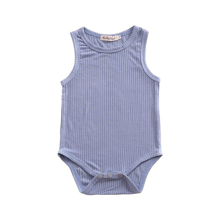Striped Blue Cotton O-neck Baby Jumpsuit