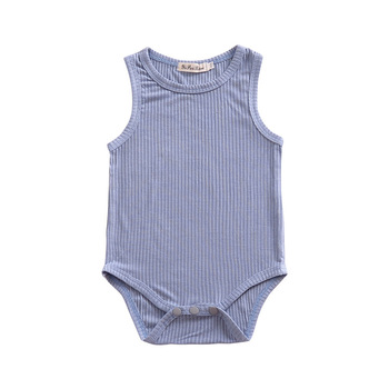 Striped Blue Cotton O-neck Baby Jumpsuit