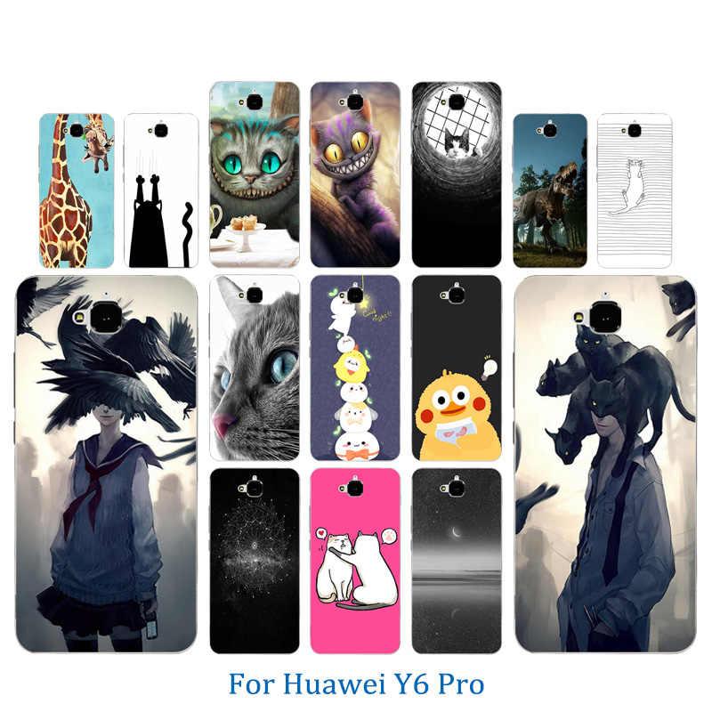 5,0 дюймов для Huawei Y6 Pro Мягкий ТПУ чехол для телефона Pusscat кожа с узором для Huawei Honor 4C Pro/Enjoy 5 полная защитная задняя крышка