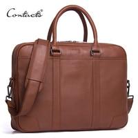 CONTACT'S Brand Briefcases Genuine Leather Men Messenger Bags New Fashion Male Shoulder Portfolio Laptop Bag Case Handbag