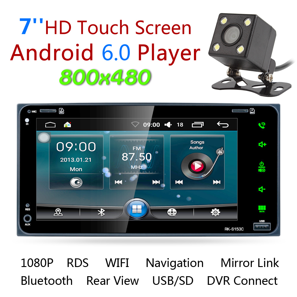 7'' RDS Android 6.0 Bluetooth Car Radio Stereo Player Touch Screen GPS Navigation Support Mirror Link with Car Rearview Camera