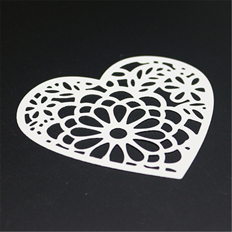 AZSG Hollow Out Heart shaped Cutting Dies For DIY Scrapbooking Die Decoretive Embossing Stencial DIY Decoative Cards Die Cutter in Cutting Dies from Home Garden
