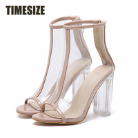 TIMESIZE Women Summer Sandals Ankle Boot Perspex Squre High Heels Clear Crystal Pumps Rome Jelly Shoes