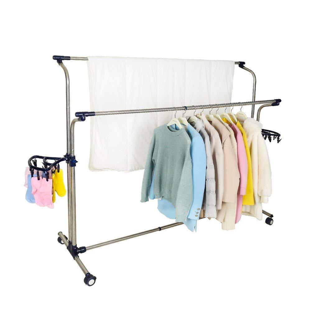 Mobile Vêtements Etendoir À Linge Porte Vêtement Extensible Rails de Roulement Réglable Vêtements Séchage Cintre avec 22 pièces Clips - 5