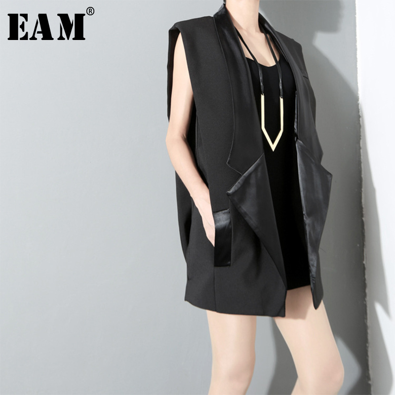 [EAM] 2018 New Summer Autumn Lapel Sleevless Pocket Split Joint Loose Long Brief Vest Women Fashion Tide All-match JG557