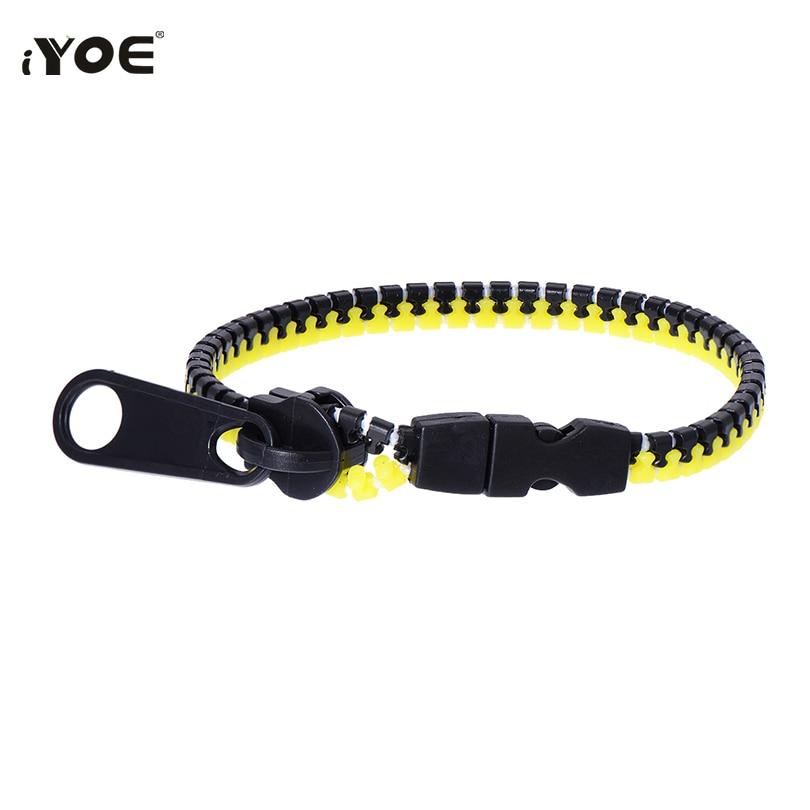 Новый Шарм-браслет IYOE в форме молнии, браслеты для женщин, мужчин, детей, простой двойной зеленый и черный браслет на молнии, силиконовые укр...