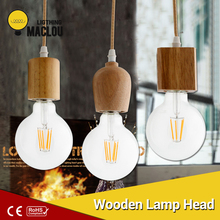 Wood Pendant Light Modern Led Pendant Lamp Hang E27 Suspensi