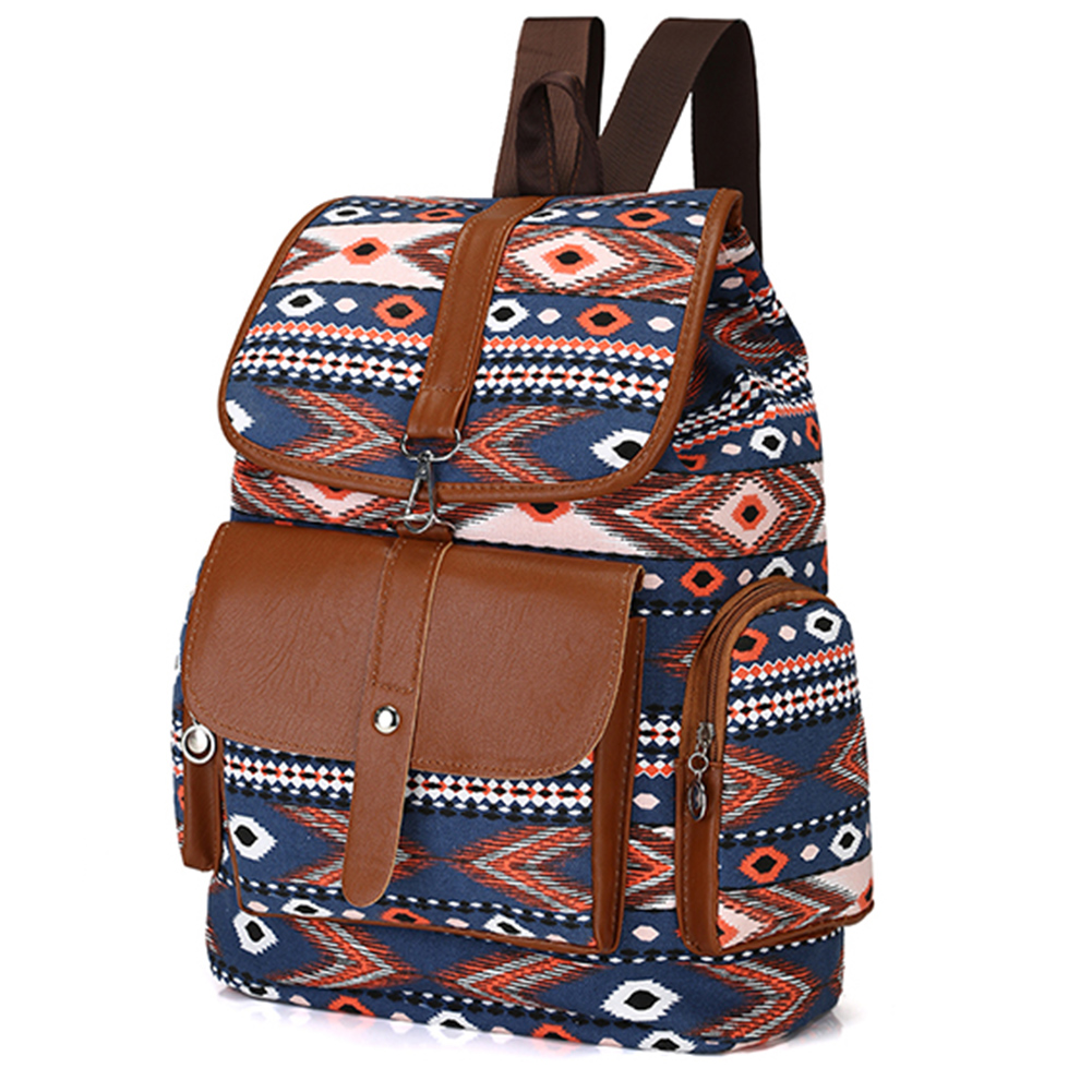 2017 New Ethnic Women Canvas Backpack Flip National Rucksack for Girls Travel School Backpack Women Bags Designer Famous Brand