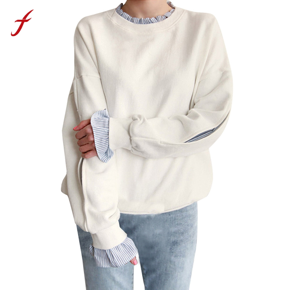 Fashion Womens Loose Long Sleeve Pullover O Neck Stripe Sweatshirt Tops Patchwork Casual Lady Autumn sudaderas