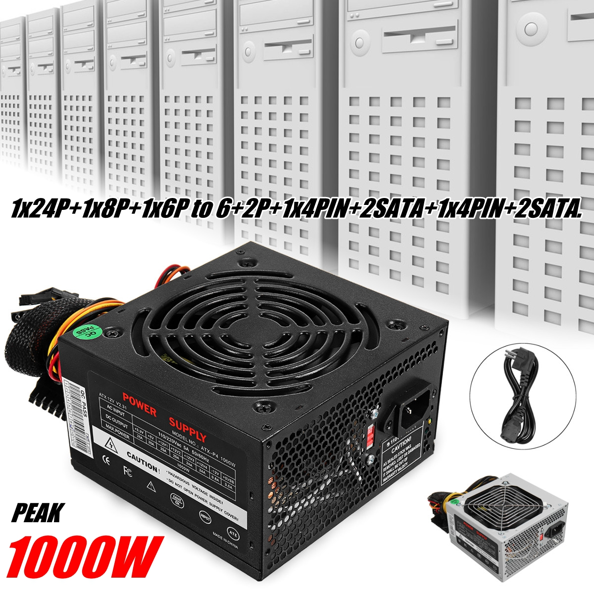 цена на 1000W Power Supply PSU PFC Silent Fan ATX 24pin 12V PC Computer SATA Gaming PC Power Supply For Intel AMD Computer