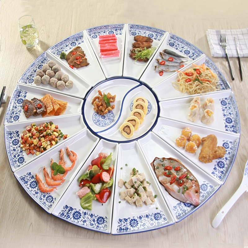 Dishes and Plates set Sector-shaped Dish for Gathering Dinner Party Ceramic Combined Plate-making Porcelain Dinner Sets