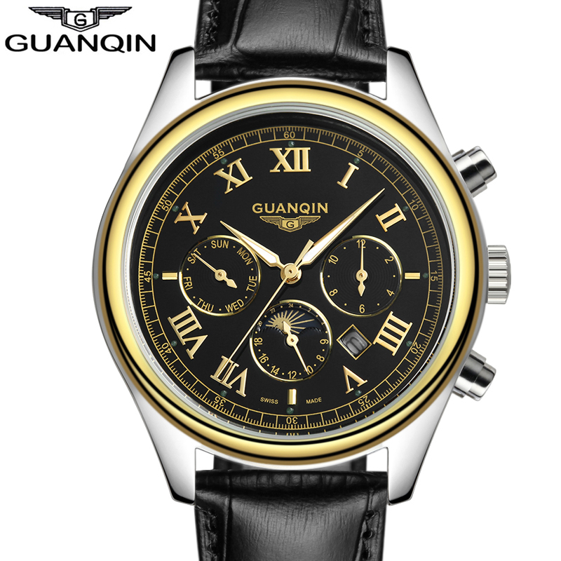 relogio masculino 2016 New Watch Men GUANQIN Luxury Brand 24 Hours Date Luminous Genuine Leather Quartz Watch Mens Sport Watches original guanqin men watches luminous luxury mens quartz watch sport leather male watches sapphire clock relogio masculino reloj