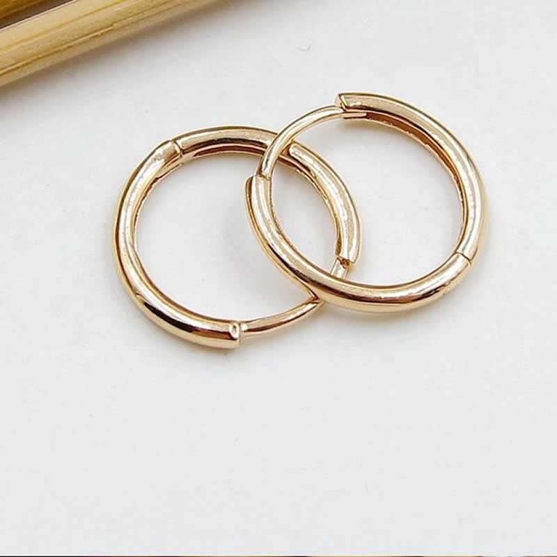 Solid AU750 Rose Gold Hoop Earrings 0.9g fry s store vacuum cleaner parts for xiaomi mijia roborock robot vacuum part pack 1 2pcs hepa filters the lowest price
