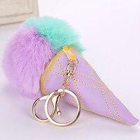 Kleurrijke Dubbele kleur ijs nep konijn Bunny bont pompom bal sleutelhanger nepbont bulb auto sleutelhouder ring vrouwen tas hanger