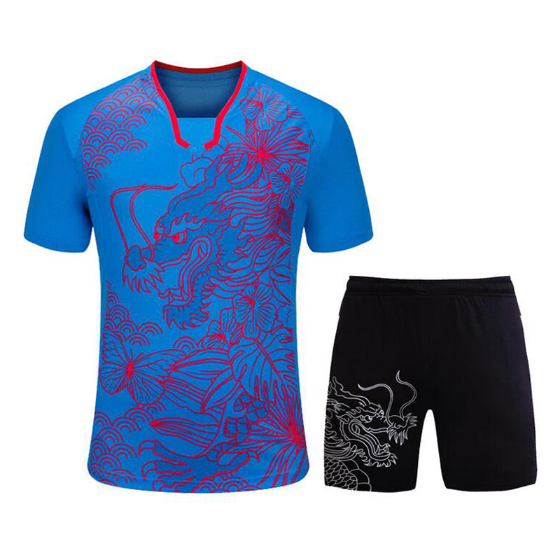 Men Table Tennis Sets Dragon Pattern Sports Training Shirt Short Male Pingpong Badminton Suit