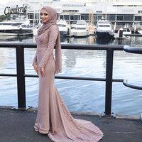 Muslim Evening Dresses Appliques Mermaid Long Sleeves With Scarf Islamic Dubai Saudi Arabic Long Prom Gown abendkleider 2019