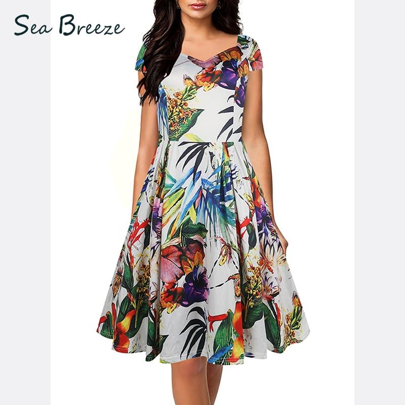 Sea Breeze Summer New Fashion Women Sweet V Neck Short