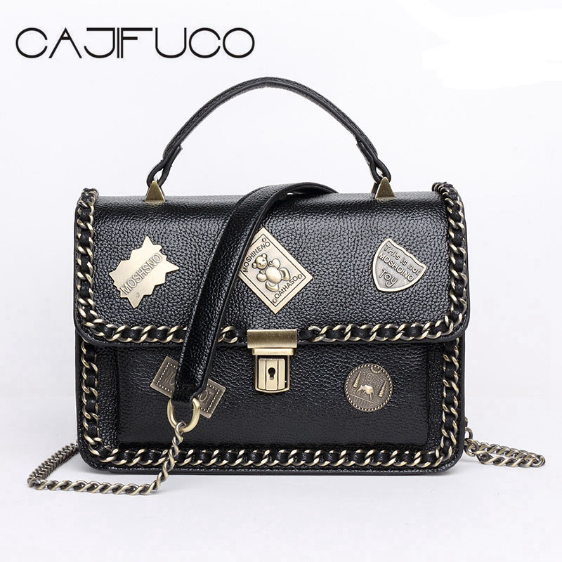 CAJIFUCO Spring Summer Vintage Badges Chain Flap Bag Retro Emblem Shoulder Bag PU Leather Messenger Bags Metal Handbag Bolsas for samsung gear s2 classic black white ceramic bracelet quality watchband 20mm butterfly clasp