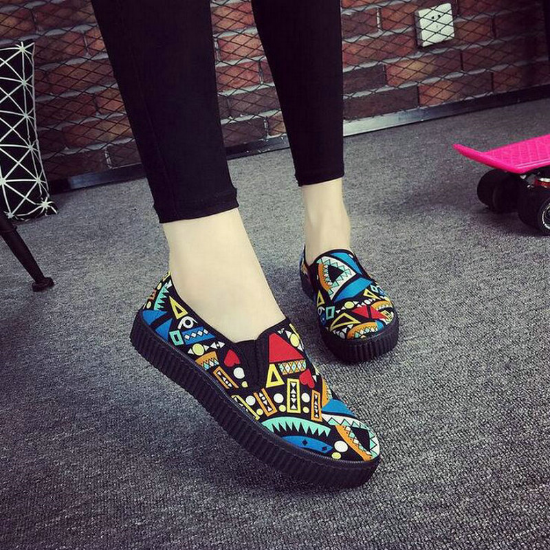 2018 brand fashion new women slip on Cotton Fabric shoes shallow casual flats loafers sneakers breathable Graffiti shoes WD-63 2017 brand new men spring fashion breathable slip on shoes stretch fabric light shoes casual flats jogging loafers shoes wb 36