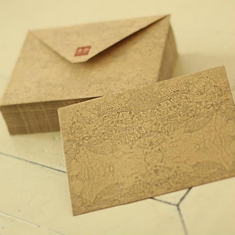 10 Pcs/lot Kraft Paper Retro Vintge Envelope For Business Card European Style Gift Envelopes High Quality Wholesale