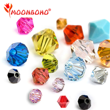 4mm 6mm Bicone Crystal Beads Glass Loose Spacer DIY Jewelry Making Austria Jet Siam Red Colors