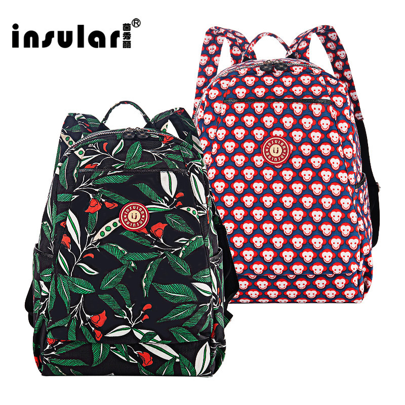 INSULAR Double Shoulder Mummy Bag Backpack Floral Nylon Waterpoof Diaper Bag for Baby Care Outdoor Feeding Bag T
