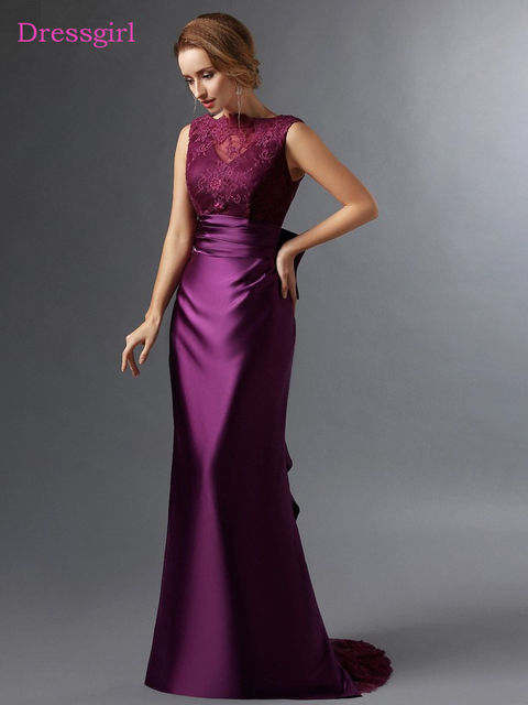 purple 2018 mother of the bride dresses mermaid satin lace